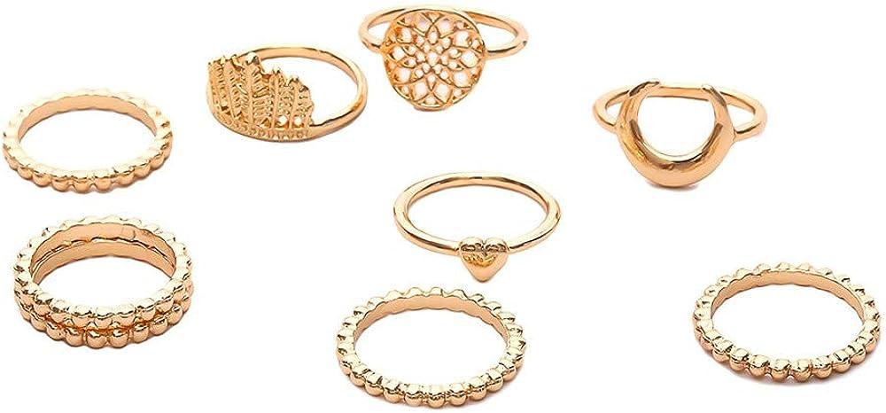 Mrotrida Girls 16 Pcs Charm Midi Finger Ring Set Vintage Boho Geometry Knuckle Party Rings Punk Jewelry