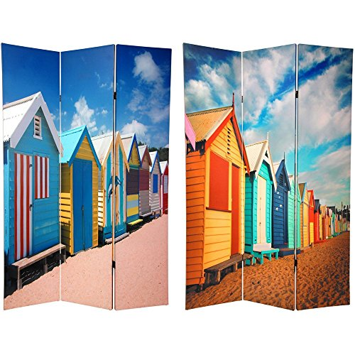 Beach Room Divider - Oriental Furniture 6 ft. Tall Double Sided Beach Cabana Room Divider