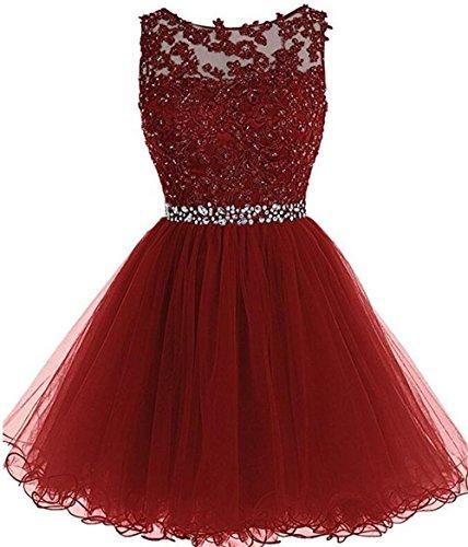 (Dydsz Women's Homecoming Dresses Short Prom Dress for Juniors 2019 Tulle Plus Size D126 Burgundy 2 )