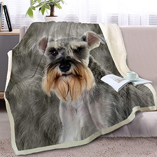 BlessLiving Schnauzer Throw Soft Blanket Sherpa Fleece Lined Blanket Pet and Dog Lovers Home Throw Blankets (Throw, 50 x 60 Inches)