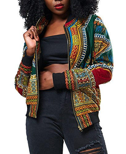 Playworld Women's Long Sleeve Print Dashiki Ethnic Style Africa Baseball Jacket,Green,Medium by Playworld (Image #1)