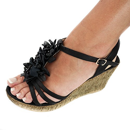 Damen Sandalen Keilabsatz Sandaletten High Heels ZH591 Blumen