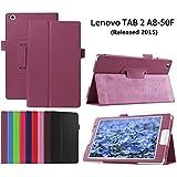 Lenovo Tab2 A8-50 Funda de Cuero,Morado Ultra Slim Lightweight Funda Case de Cuero para Lenovo Tab 2 A8-50 Tablet de 8'' Pulgadas(2015 Edtion)Smart Cover Case Carcasa Piel con Stand Función