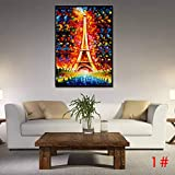 """Qenci 23.6"""" x 31.9"""" iffel Tower Sailboat House Painting Wall Art Lanscape Painting Print on Canvas Wall Decoration"""