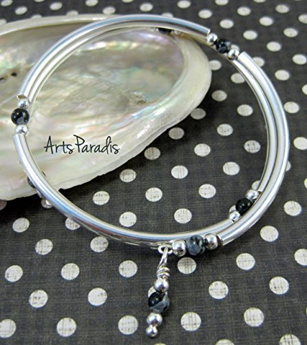 Black Grey Snowflake Obsidian Natural Stone and Sterling Silver-Plated Wrap Bracelet by ArtsParadis