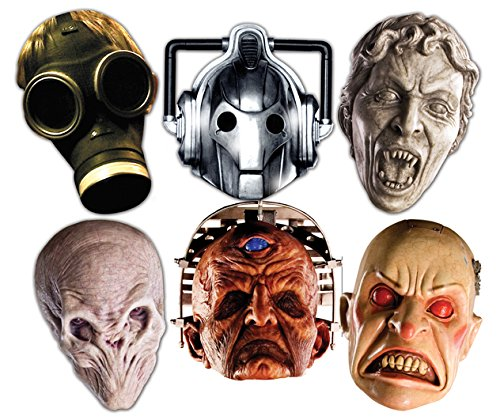 Star Cutouts SMP70 BBC Doctor Who - Monster Halloween Masks, Party 6 Pack (Cyberman, Smiler, Davros, Weeping Angel, Empty Child & Silent) Child/Silent, One -