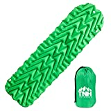 Inflating Lightweight Sleeping Pad With Dual Chambers By TNH Outdoors. Compact Size Inflatable Air Mat For Backpacking Hiking Or Camping! (Lightweight Sleeping Pad)