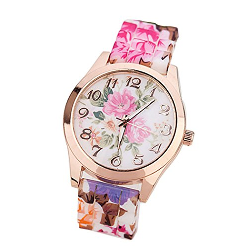 Women Flower Watches COOKI Clearance Analog Ladies Watches Female Watches Leather Watch-H17(Hot (Lady Hot Pink Leather)