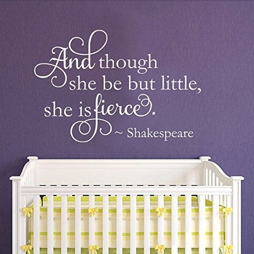 Yoyocoa and Though she be but Little she is Fierce - Nursery Wall Decal - Shakespeare Quote Vinyl Lettering Girls Nursery Decor(Dark Gray, 33