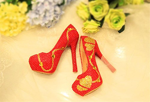 Fleurs De Escarpins Bonne Rouge Coeur Femmes Chaussures De Qualité Demoiselle En D'honneur Haut Chaussures Forme En Couleur De Mariée Stiletto Mariage Cristal Talon Strass De MNII qvEgnC6C