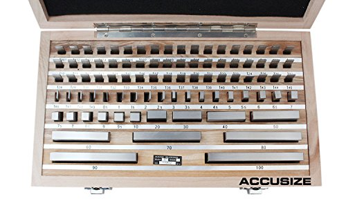 Accusize Tools - 87 pc Metric Gage Block Set, Grade 2, DIN861 Germany Standard with MFGs Certificate, 0087-2160