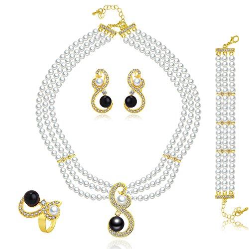 JuJubak Three-Row Simulated Pearl Necklace Ring Multi-strand Rhinestone Gold White-black Cultured Pierced Earring 4 (4 Strand Necklace Earrings)
