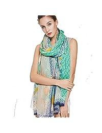 DANA XU 100% Pure Silk Large Size Women Soft Pashmina Shawls and Wraps (Green)