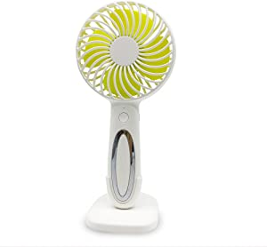 Lushibo Handheld Portable Cooling Fan with LED Night Reading Light Lamp Battery Operated 3-Speed Mini Small Personal Desktop USB Fan for Home Office Travel Camping Outdoor-Macaron White