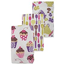 Cupcake/Teacup Pattern Microfibre Tea Towel Set (Pack Of 3) (One Size) (White)