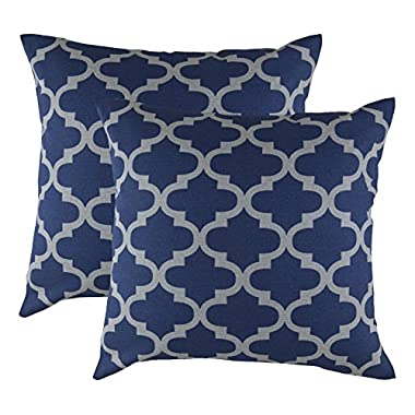 TreeWool, Cotton Canvas Trellis Accent Decorative Throw Pillowcases (2 Cushion Covers; 18 x 18 Inches; Navy & Grey)
