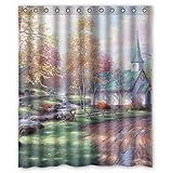 JHDHVRFR Custom Holy Church Painting Fabric Polyester Waterproof Bathroom Shower Curtain-Devout Christian Gift, 60(w) x72(h)