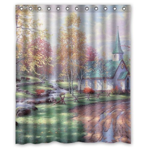 JHDHVRFR Custom Holy Church Painting Fabric Polyester Waterproof Bathroom Shower Curtain-Devout Christian Gift, 60(w) x72(h) by JHDHVRFR