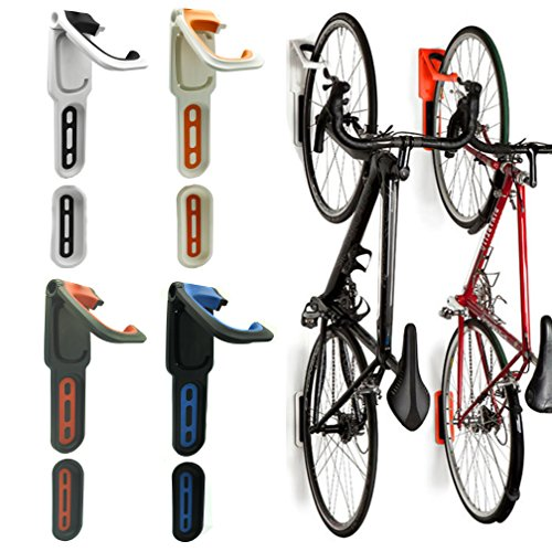 Reliancer 4 Color Foldable Vertical Bike Rack Wall Mounted Bicycle Cycle Storage Rack Single Bike Hook Wall Bike Hanger Holder w/Tire Tray for Garage Shed Retail Applications (2 Pack Orange&White)