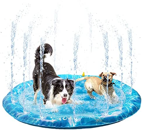 """ALL FOR PAWS Sprinkler Fun Mat, 51"""" Outdoor Splash Pad for Pets Inflatable Splash Play Mat Dogs Pool Boys Girls Children Outside Water Toys for Backyard Garden Party"""