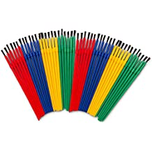 Crenstone Paint Brushes Classroom Bulk Set -- Pack of 48 Paint Brushes for Kids Toddlers (Value Pack)