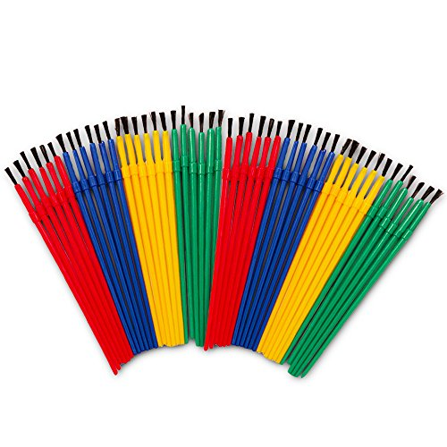 Crenstone Paint Brushes Classroom Bulk Set -- Pack of 48 Paint Brushes for Kids Toddlers (Value Pack) (Paintbrushes And Party)