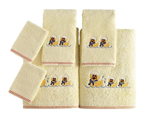 Kids Soft Premium Cotton Bath Towel Set - Made with 100% Pure Combed Cotton - 6 Piece Children Themed Set (Ducks Theme) by SALBAKOS
