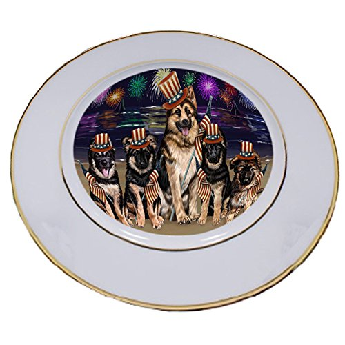 4th of July Independence Day Firework German Shepherds Dog Porcelain Plate -