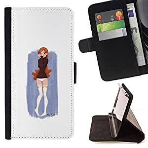 Momo Phone Case / Flip Funda de Cuero Case Cover - Pintura linda chica - Huawei Ascend P8 (Not for P8 Lite)