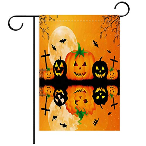Polyester and linen Garden Flag Outdoor Flag House Flag BannerHalloween Decorations Spooky Carved Halloween Pumpkin Full Moon with Bats and Grave Lake Orangedecorated for outdoor holiday gardens