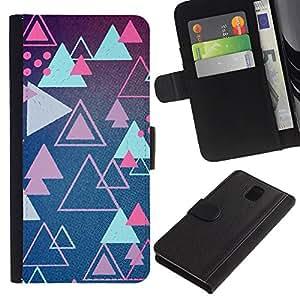 iBinBang / Flip Funda de Cuero Case Cover - Juego Rosa Retro Shapes - Samsung Galaxy Note 3 III N9000 N9002 N9005
