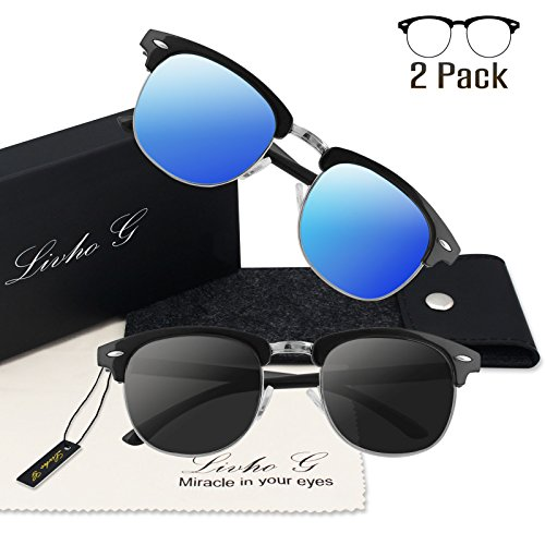 Livhò G 2 Pack of Polarized Sunglasses Women Men Semi Rimless Frame Retro Classic Sun Glasses (Black Grey+Navy Blue)