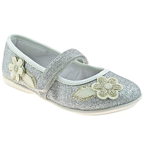 Lelli Kelly LK5706 (LH01) Glitter Argento Gaia Flower Dolly Shoes -29 (UK 11)
