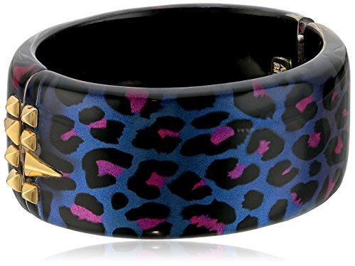 (Alexis Bittar Golden Studded Slate Panther Hinge Cuff Bracelet)