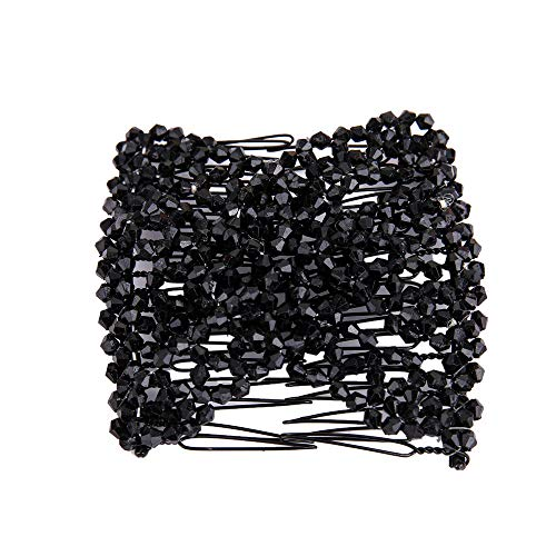 Gotian Women Stainless Hair Comb Fashion Ladies Magic Beads Elasticity Double Hair Comb Clamp Stretchy Accessory Gifts (Black) -