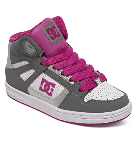 Dc Shoes Rebound Zapatillas De Caña Alta, Color: Lt Grey/Purple, Size: 30 EU (12 US / 11 Child UK)