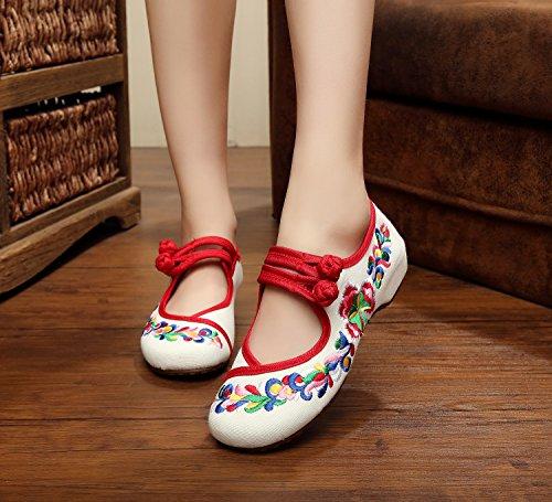 WXT Zapatos bordados, lenguado de tendón, estilo étnico, zapatos de tela femenina, moda, cómodo, zapatos de baile White
