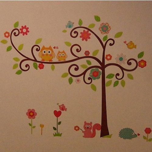 Zehui Wandtattoo Kinderzimmer Tür Festern Dekor Bunt Eulen Baum Entfernbar  Wandstickers: Amazon.de: