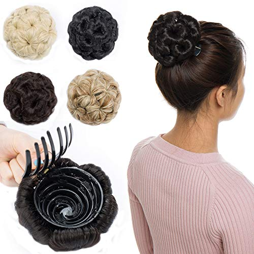 Wavy Chignon Hairpieces Clip in on Synthetic Hair Bun Plastic Combs Bride Updo Hair Extensions Accessory Ribbon Ponytail Dark Brown-Clip in