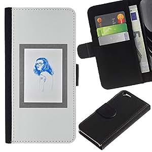KingStore / Leather Etui en cuir / Apple Iphone 6 / Cadre Hippie Affiche bleue