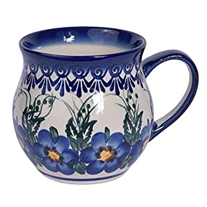 Traditional Polish Pottery, Handcrafted Ceramic Bubble Mug (350ml), Boleslawiec Style Pattern, Q.502.Pansy