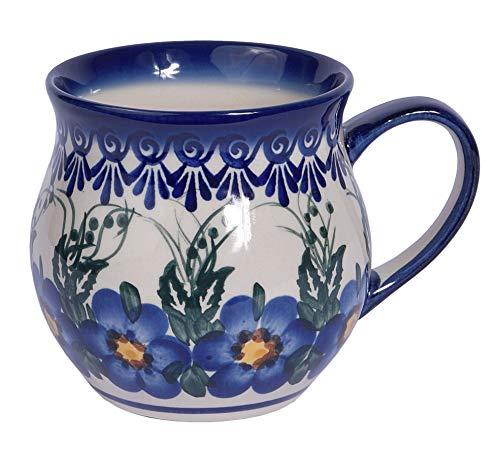 Traditional Polish Pottery, Handcrafted Ceramic Bubble Mug (350ml), Boleslawiec Style Pattern, Q.502.Pansy