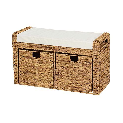 Household Essentials ML-6688 Entryway Cushioned Wicker Storage Bench with Storage Bins