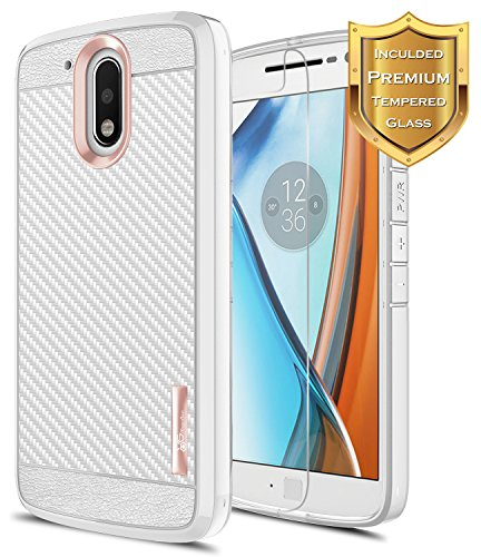 Moto G4 Case with [Tempered Glass Screen Protector], NageBee [Frost Clear] [Carbon Fiber] Slim Soft TPU Protective Bumper Cover Case for Motorola Moto G 4th Gen (Rose Gold)