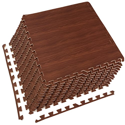 Soft Foam Floor Mat (Sorbus Interlocking Floor Mat – Multipurpose Foam Tile Flooring with Borders – Home, Office, Playroom, Basement, 48 Sq ft (Wood Grain - Cherry, 12 Tiles))