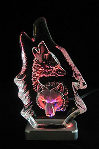 Engraved Lead Crystal -- Two Wolf Head on color LED light base