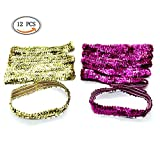 Facial Yoga Classes - IDS Sequin Headbands Elastic Stretch Sparkly Fashion Headband for Teens Girls Women Softball Pack Volleyball Basketball Dance Set Sports Teams Store