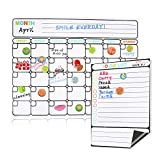 "BALFER Magnetic Dry Erase Calendar for Refrigerator, 2019-2020 Monthly Planner Whiteboard Organizing Calendar 16""x12"" & Family Kitchen to Do List 9""x6"""