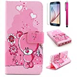 Note 5 Case, JCmax Cartoon Style Superior PU Leather Wallet Case [Cards Holder] Cute Surface With Folding Stand Function Extreme Lightweight Skin For Samsung Galaxy Note 5