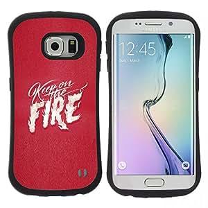 """Pulsar iFace Series Tpu silicona Carcasa Funda Case para Samsung Galaxy S6 EDGE / SM-G925(NOT FOR S6!!!) , Pink Texto fuego corazón blanco Llamas Amor"""""""